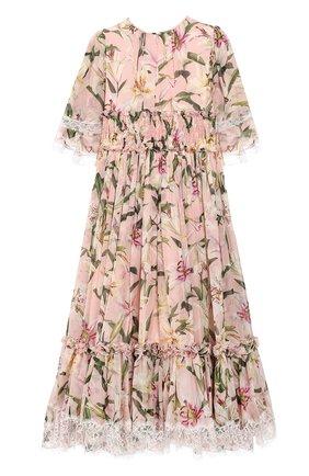 Детское хлопковое платье DOLCE & GABBANA светло-розового цвета, арт. L51DR1/HS155/2-6 | Фото 2