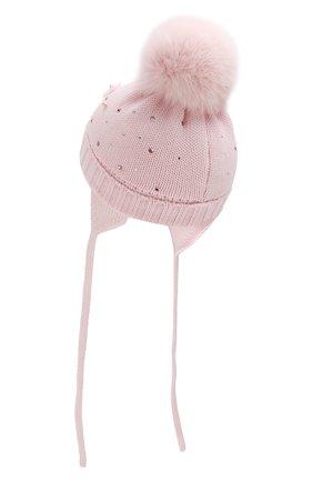 Детского шерстяная шапка с меховым помпоном CATYA розового цвета, арт. 923618/AD | Фото 2