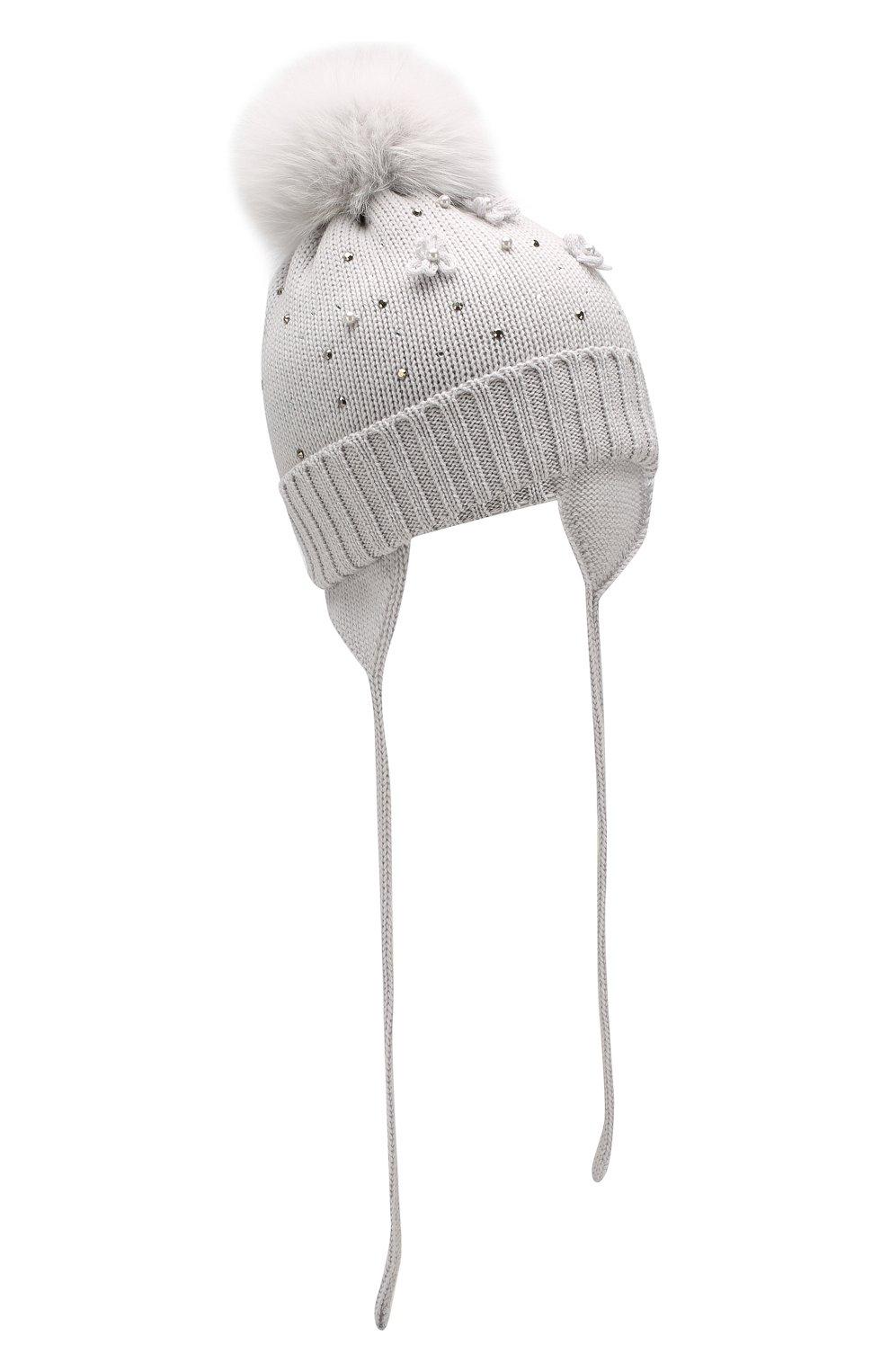 Шерстяная шапка с меховым помпоном | Фото №1