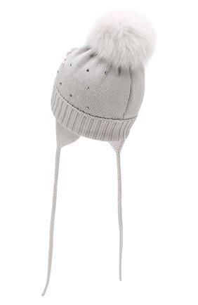 Детского шерстяная шапка с меховым помпоном CATYA светло-серого цвета, арт. 923618/AD | Фото 2