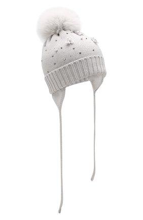 Детского шерстяная шапка с меховым помпоном CATYA светло-серого цвета, арт. 923618/3AD | Фото 1