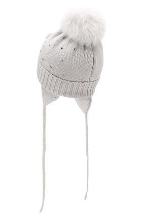 Детского шерстяная шапка с меховым помпоном CATYA светло-серого цвета, арт. 923618/3AD | Фото 2