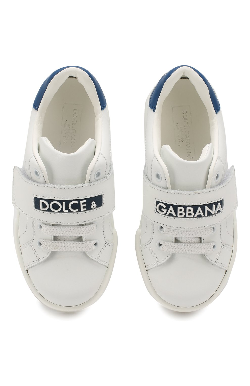Детские кожаные кеды DOLCE & GABBANA белого цвета, арт. DA0730/A3444/24-28 | Фото 4