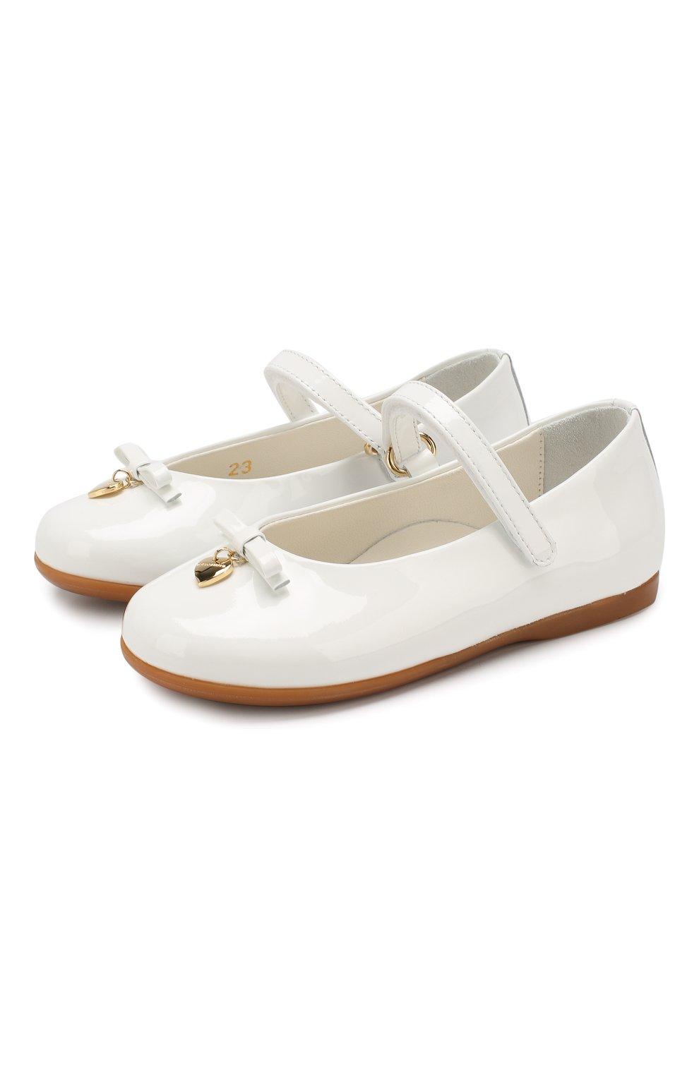 Детские туфли из лаковой кожи DOLCE & GABBANA белого цвета, арт. D20057/A1328/19-28 | Фото 1