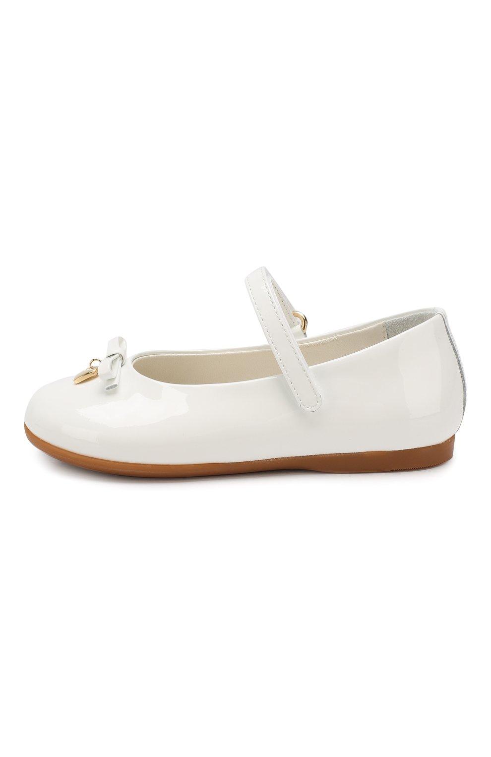 Детские туфли из лаковой кожи DOLCE & GABBANA белого цвета, арт. D20057/A1328/19-28 | Фото 2