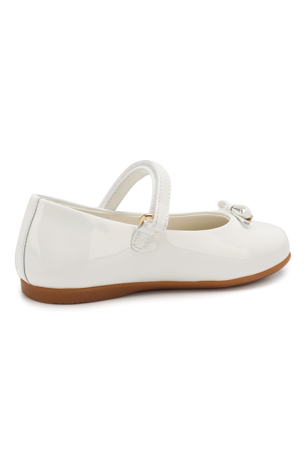 Детские туфли из лаковой кожи DOLCE & GABBANA белого цвета, арт. D20057/A1328/19-28 | Фото 3