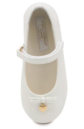 Детские туфли из лаковой кожи DOLCE & GABBANA белого цвета, арт. D20057/A1328/19-28 | Фото 4