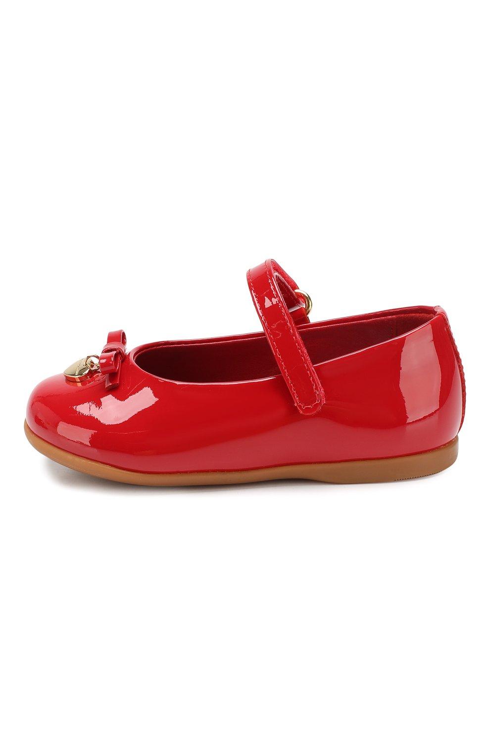 Детские туфли из лаковой кожи DOLCE & GABBANA красного цвета, арт. D20057/A1328/19-28 | Фото 2