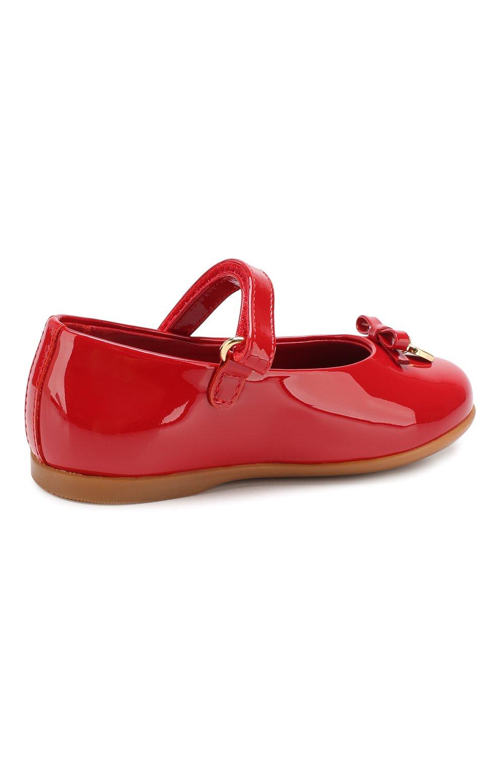 Детские туфли из лаковой кожи DOLCE & GABBANA красного цвета, арт. D20057/A1328/19-28 | Фото 3
