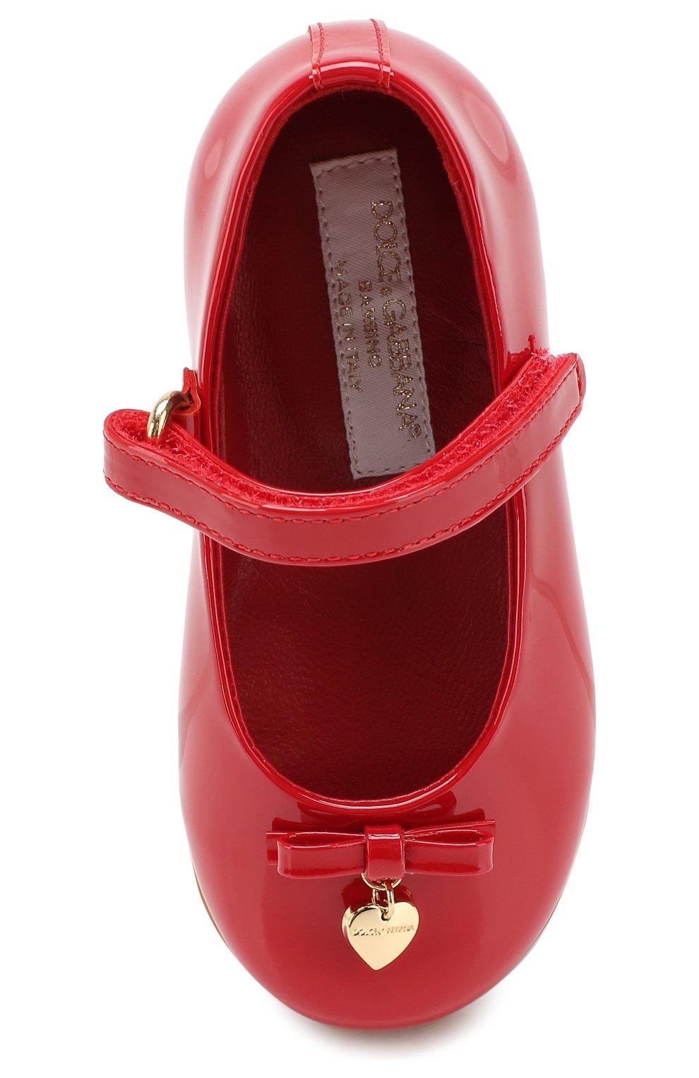 Детские туфли из лаковой кожи DOLCE & GABBANA красного цвета, арт. D20057/A1328/19-28 | Фото 4