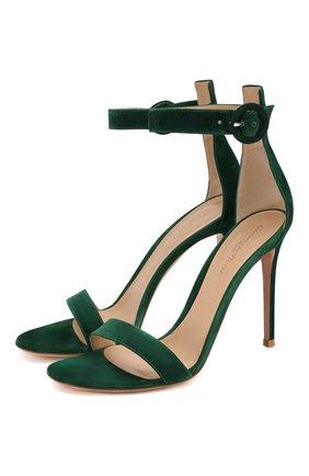 Женские замшевые босоножки portofino 105 GIANVITO ROSSI зеленого цвета, арт. G61096.15RIC.CAMLEAF | Фото 1