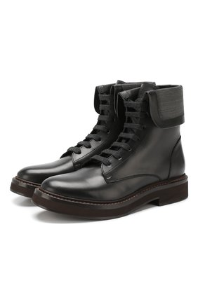 Женские кожаные ботинки BRUNELLO CUCINELLI черного цвета, арт. MZBSG1610 | Фото 1