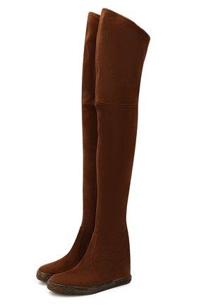 Женские замшевые ботфорты CASADEI коричневого цвета, арт. 2T921N0801T00052608 | Фото 1