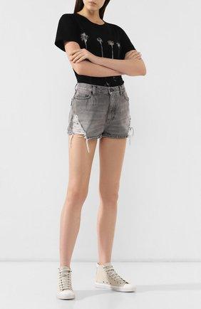 Женские кожаные кеды bedford SAINT LAURENT бежевого цвета, арт. 579890/0YPJ0 | Фото 2