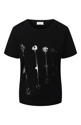 Женская хлопковая футболка SAINT LAURENT черного цвета, арт. 582207/YBKG2 | Фото 1
