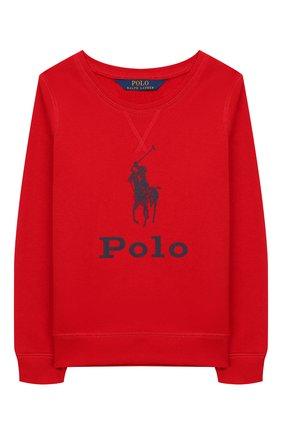 Детский хлопковый свитшот POLO RALPH LAUREN красного цвета, арт. 313752411 | Фото 1
