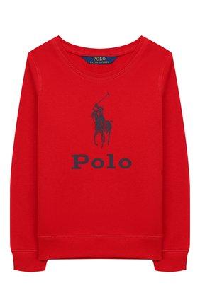 Детский хлопковый свитшот POLO RALPH LAUREN красного цвета, арт. 312752411 | Фото 1