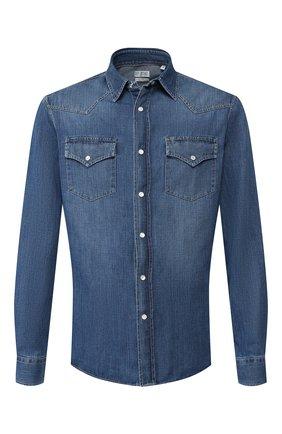 Мужская джинсовая рубашка BRUNELLO CUCINELLI синего цвета, арт. ME6454078 | Фото 1