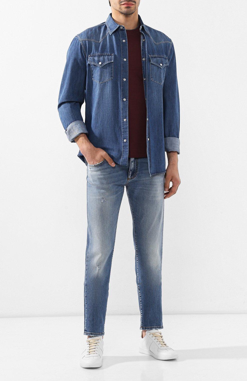 Мужская джинсовая рубашка BRUNELLO CUCINELLI синего цвета, арт. ME6454078 | Фото 2