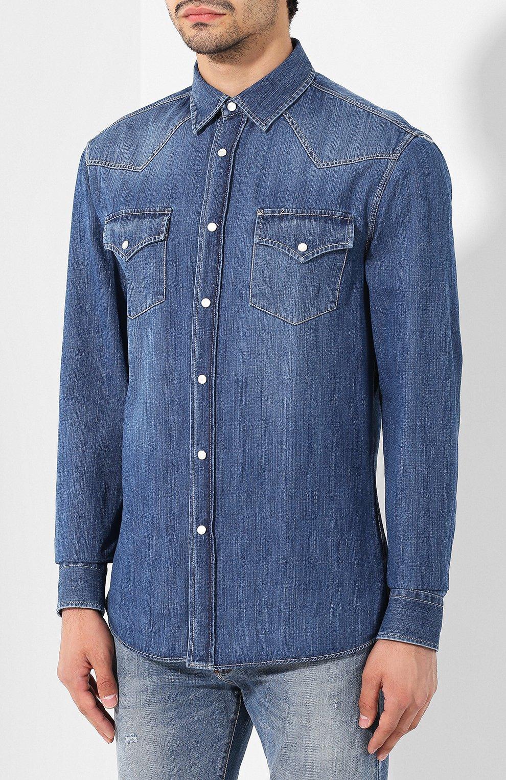 Мужская джинсовая рубашка BRUNELLO CUCINELLI синего цвета, арт. ME6454078 | Фото 3