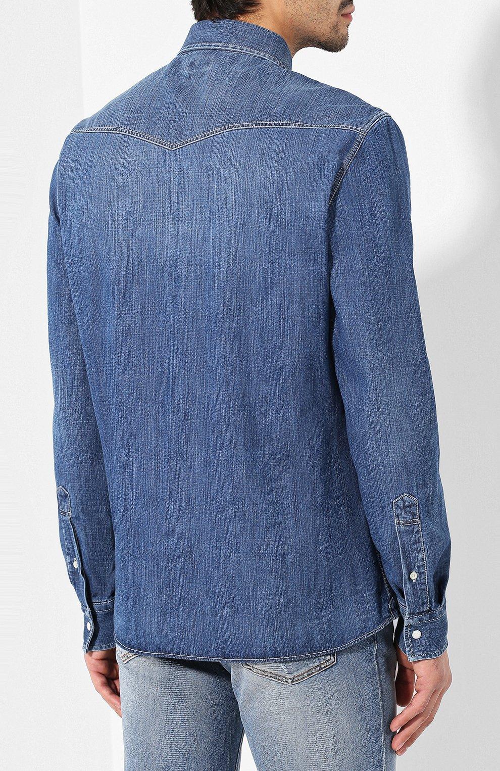 Мужская джинсовая рубашка BRUNELLO CUCINELLI синего цвета, арт. ME6454078 | Фото 4