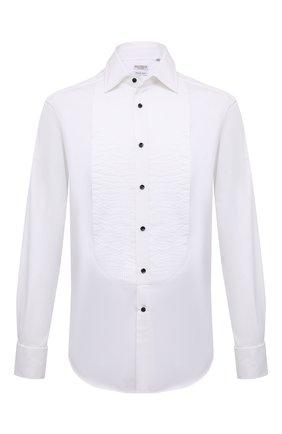 Мужская хлопковая сорочка BRUNELLO CUCINELLI белого цвета, арт. ME624S1866 | Фото 1