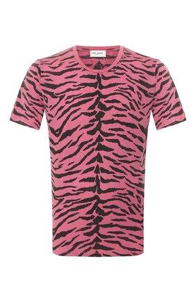 Мужская хлопковая футболка SAINT LAURENT розового цвета, арт. 577096/YBIH2 | Фото 1