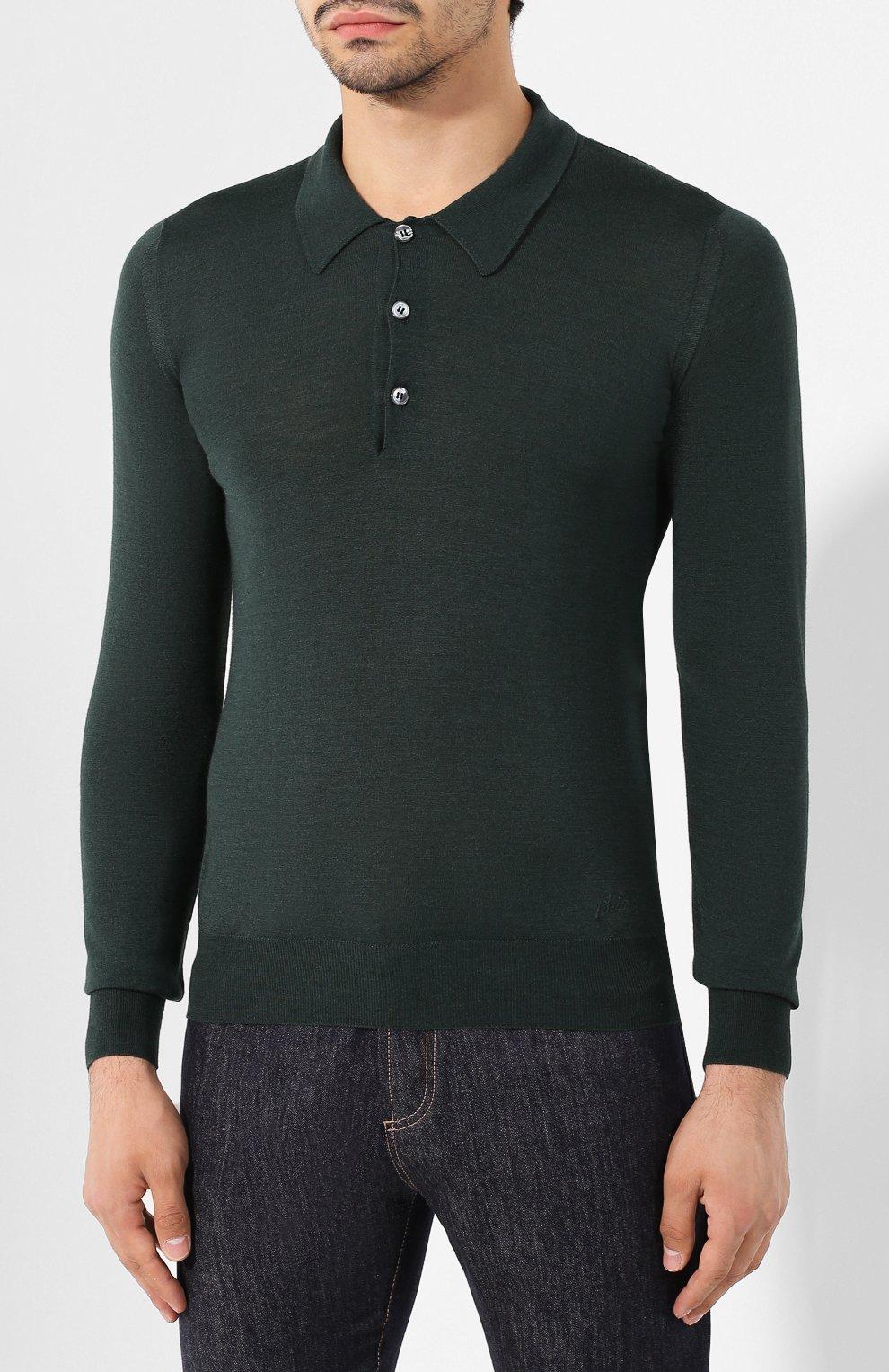 Мужское поло из смеси шерсти и шелка BRIONI зеленого цвета, арт. UMR30L/08K16 | Фото 3