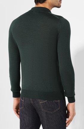 Мужское поло из смеси шерсти и шелка BRIONI зеленого цвета, арт. UMR30L/08K16 | Фото 4