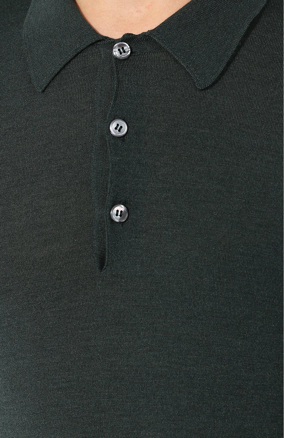Мужское поло из смеси шерсти и шелка BRIONI зеленого цвета, арт. UMR30L/08K16 | Фото 5