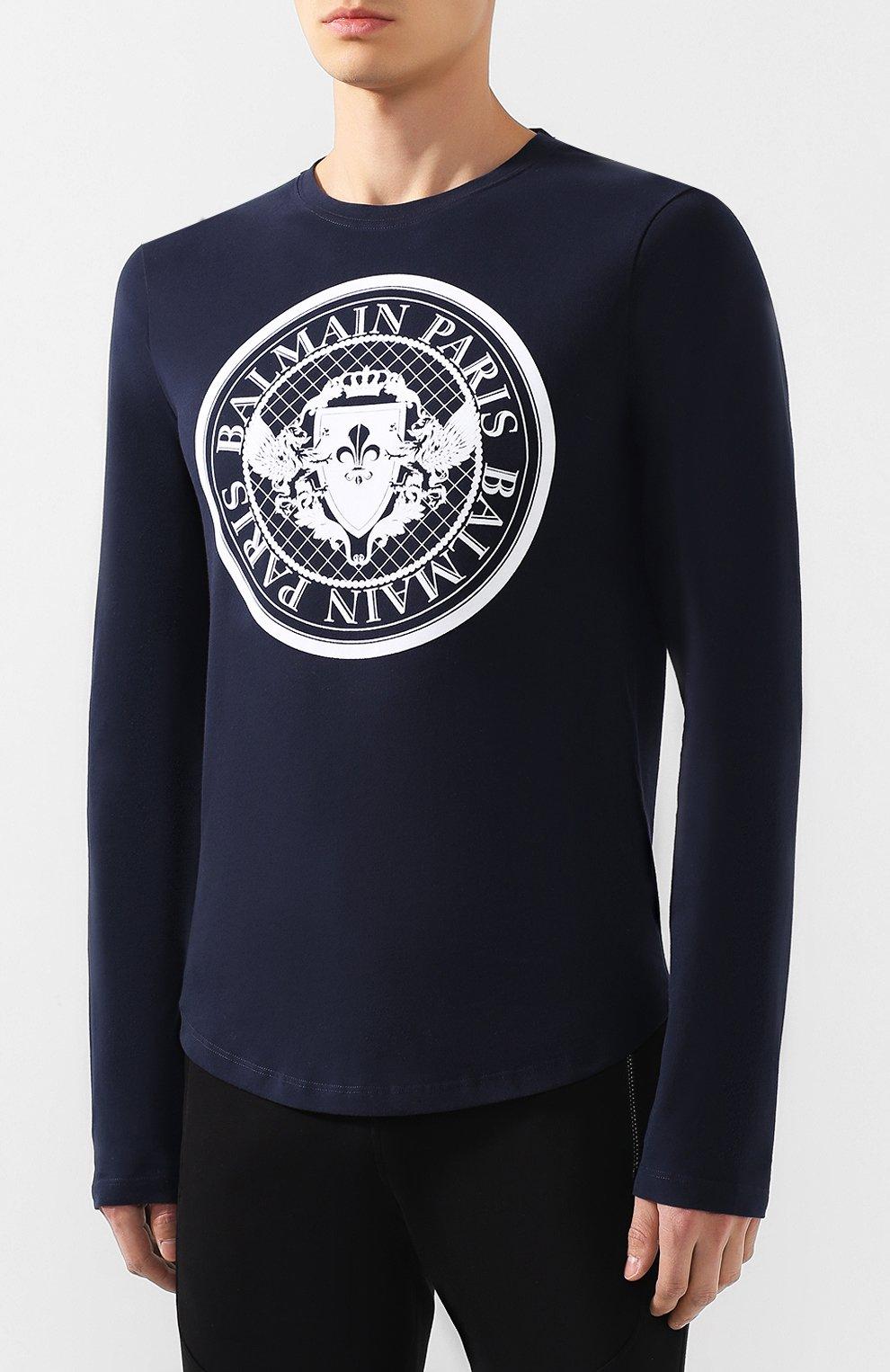 Мужская хлопковый лонгслив BALMAIN темно-синего цвета, арт. SH11235/I107 | Фото 3