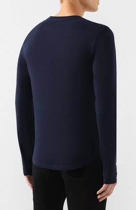 Мужская хлопковый лонгслив BALMAIN темно-синего цвета, арт. SH11235/I107 | Фото 4
