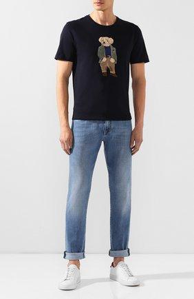 Мужская хлопковая футболка RALPH LAUREN темно-синего цвета, арт. 790750588 | Фото 2