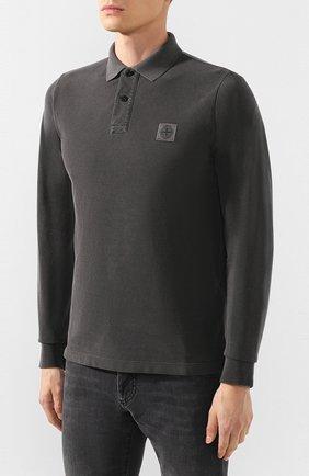 Мужское хлопковое поло STONE ISLAND темно-серого цвета, арт. 71152SS67 | Фото 3