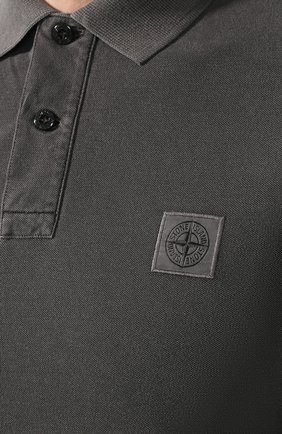 Мужское хлопковое поло STONE ISLAND темно-серого цвета, арт. 71152SS67 | Фото 5