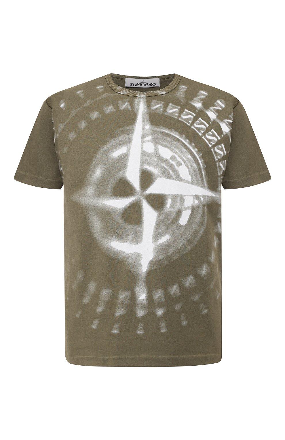 Мужская хлопковая футболка STONE ISLAND хаки цвета, арт. 711523383   Фото 1