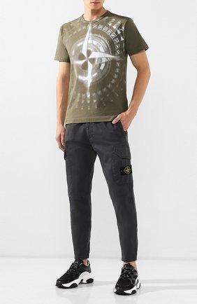 Мужская хлопковая футболка STONE ISLAND хаки цвета, арт. 711523383   Фото 2