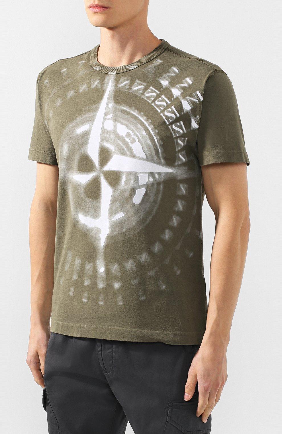 Мужская хлопковая футболка STONE ISLAND хаки цвета, арт. 711523383   Фото 3