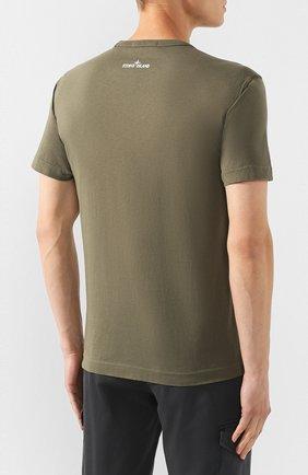 Мужская хлопковая футболка STONE ISLAND хаки цвета, арт. 711523383   Фото 4
