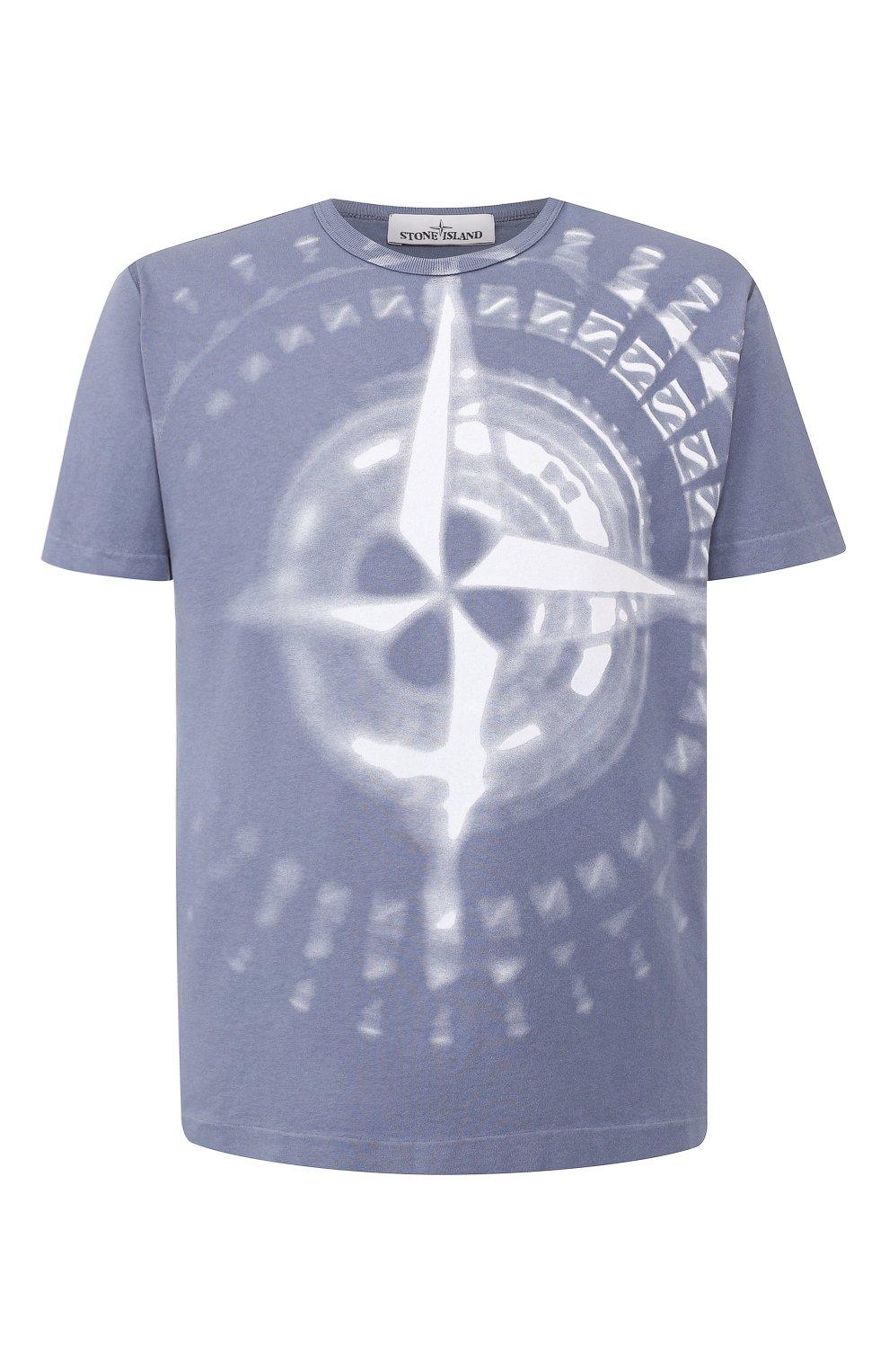Мужская хлопковая футболка STONE ISLAND синего цвета, арт. 711523383   Фото 1