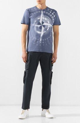 Мужская хлопковая футболка STONE ISLAND синего цвета, арт. 711523383   Фото 2