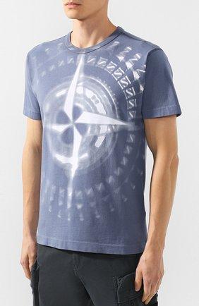 Мужская хлопковая футболка STONE ISLAND синего цвета, арт. 711523383   Фото 3