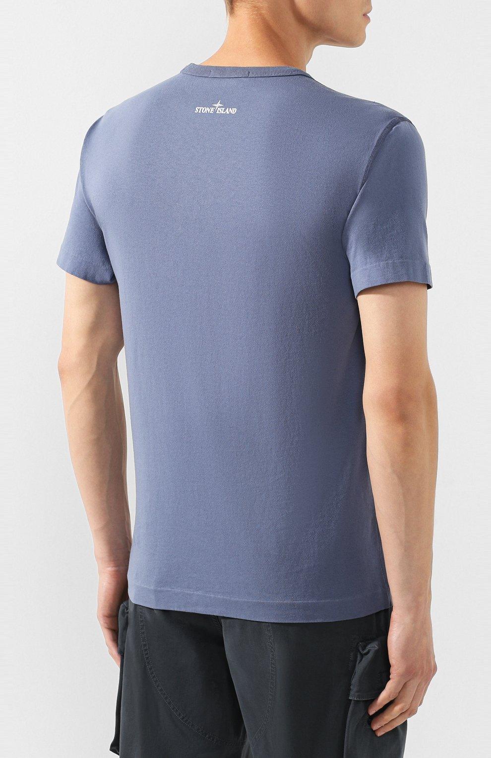 Мужская хлопковая футболка STONE ISLAND синего цвета, арт. 711523383   Фото 4