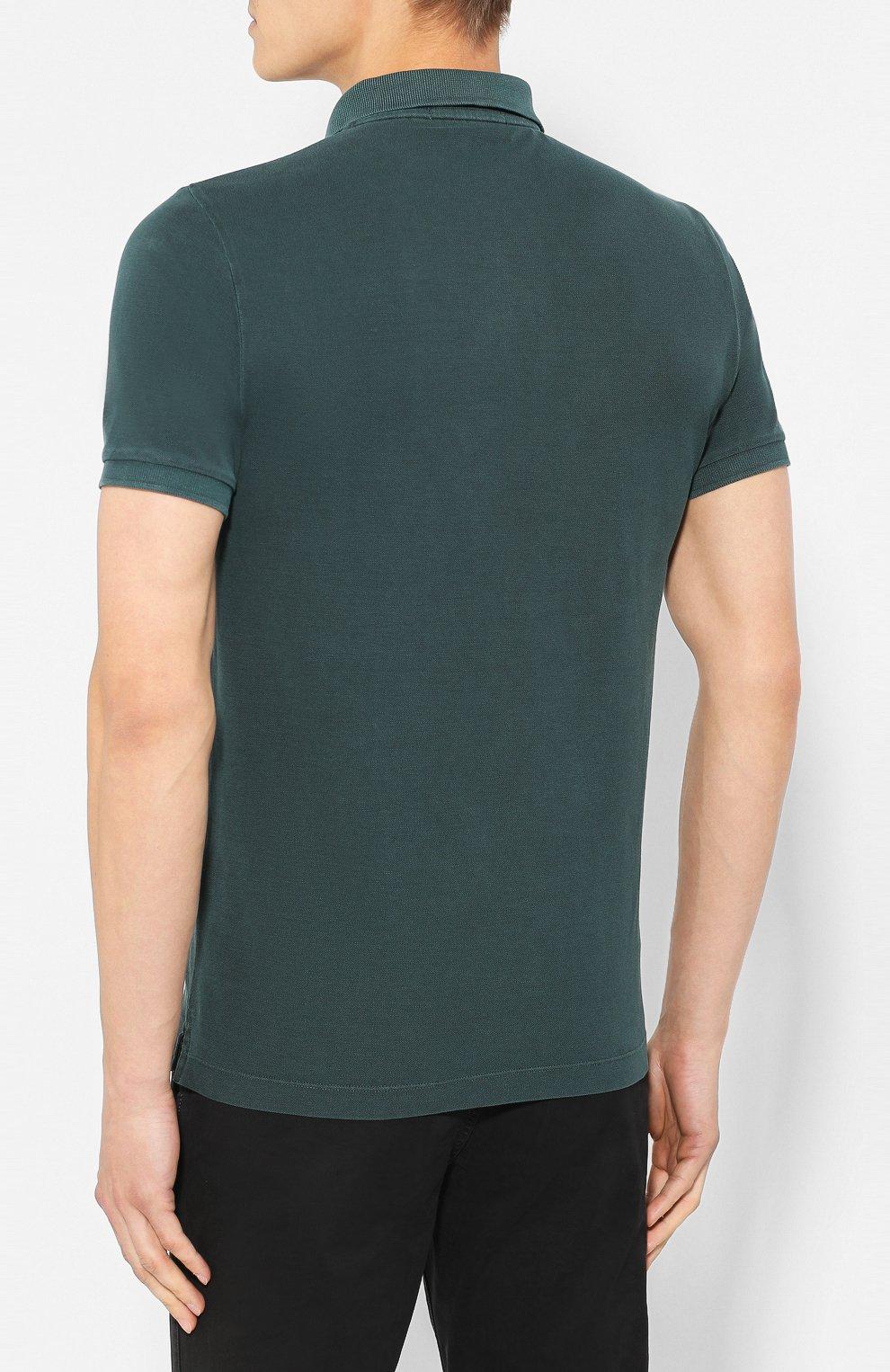 Мужское хлопковое поло STONE ISLAND темно-зеленого цвета, арт. 711522S67   Фото 4
