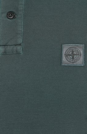 Мужское хлопковое поло STONE ISLAND темно-зеленого цвета, арт. 711522S67   Фото 5