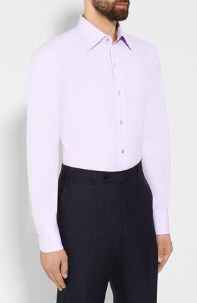 Мужская хлопковая сорочка TOM FORD сиреневого цвета, арт. 6FT011/94S1JE | Фото 3