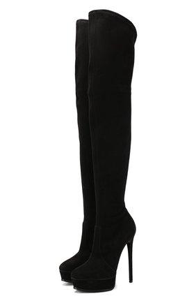 Женские замшевые ботфорты flora CASADEI черного цвета, арт. 1T831E1401T00059000 | Фото 1