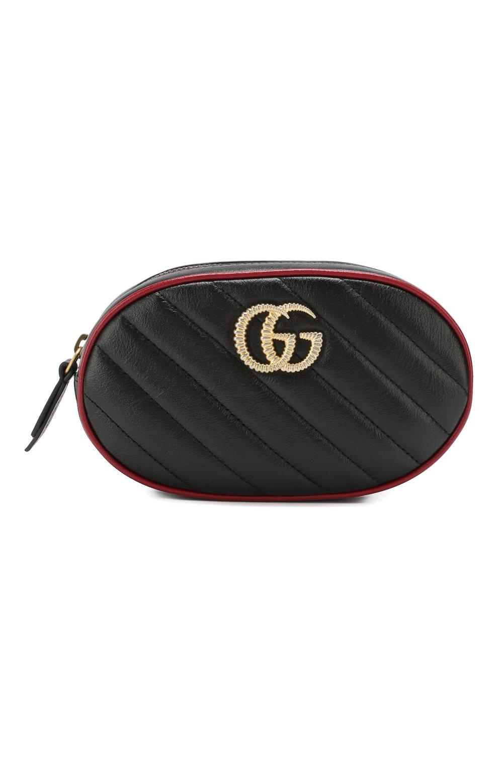 Женская поясная сумка gg marmont GUCCI черного цвета, арт. 476434/00LFX | Фото 1
