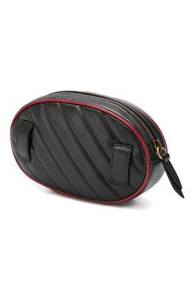 Женская поясная сумка gg marmont GUCCI черного цвета, арт. 476434/00LFX | Фото 3