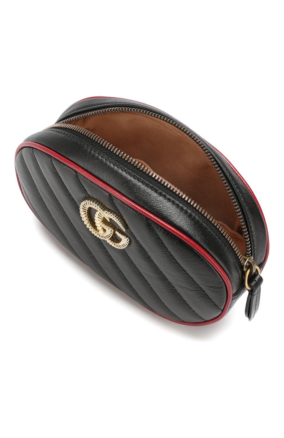 Женская поясная сумка gg marmont GUCCI черного цвета, арт. 476434/00LFX | Фото 4
